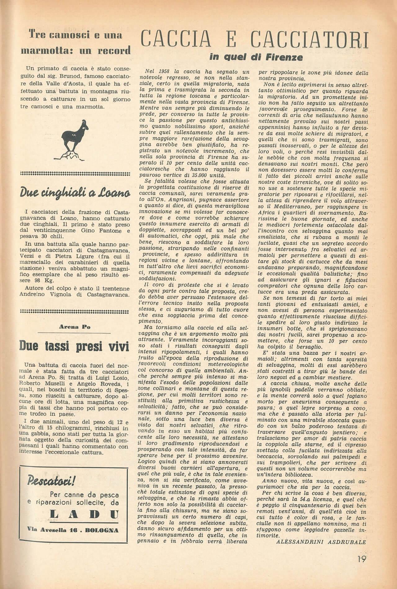 1959 Notiziario di Caccia Pesca numero 620 Caccia e Cacciatori