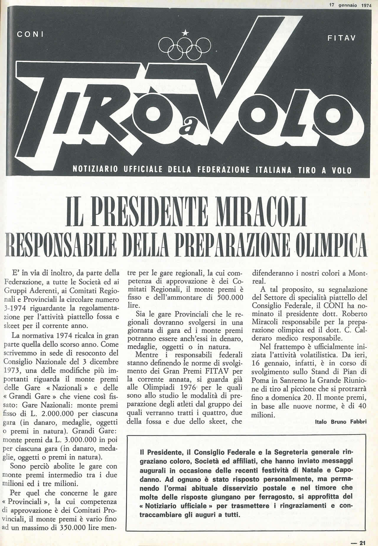1974 Caccia e Pesca Tiro a Volo numero 1404 Presidente